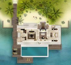 Garden Villa 1 Bdroom - Maldives - MITS - Du lịch as operations Phẩm Nghệ Thuật Villa Plan, Tiny House Layout, House Layouts, Dream House Plans, Small House Plans, Minecraft Villa, Resort Plan, Bungalow Floor Plans, Log Cabin Living
