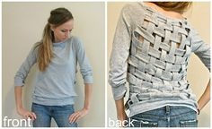 sweet diy woven back sweatshirt