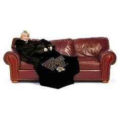 "Wake Forest Demon Deacons NCAA Adult ""Smoke"" Comfy Throw Blanket w/ Sleeves"