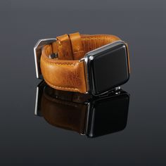 Apple Watch with tan leather strap