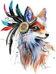 In nature spectrum signed Art Print Fox wild life by PixieColdArt