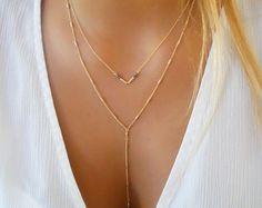 Silver Y Necklace Set Silver V Necklace Set Of 2 by annikabella