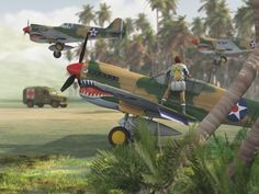Flying Tigers by sike Vue Aviation Ww2 Aircraft, Fighter Aircraft, Military Aircraft, Military Art, Military History, Indochine, Aircraft Painting, Airplane Art, Cg Artist