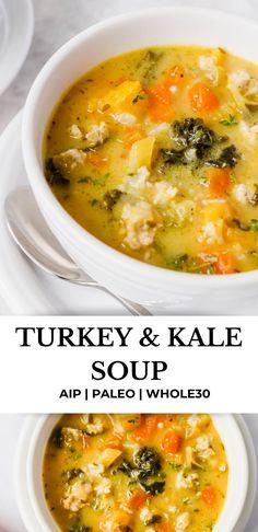 Ground Turkey Recipes Whole 30, Ground Turkey Soup, Whole 30 Recipes, Whole 30 Soup, Paleo Whole 30, Kale Soup Recipes, Paleo Recipes, Quick Paleo Meals, Keto Meal