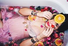 One of my most favorite images goddess Mae delighting in a bath of flowers and fruits (and jewelry too of course)  photo: @abarket  flower and fruit styling @aurorabotanica  jewelry by @susan_alexandra  model  @maep