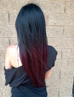 Hair long shatush black and red