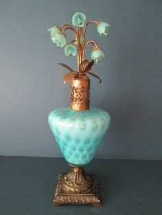 Antique Vtg Murano Irice Perfume Bottle Aqua Gold w Glass Flowers w Germany | eBay