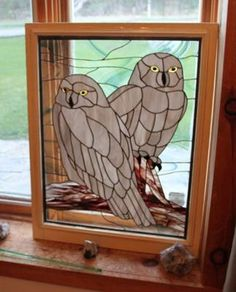 owl pair stained glass | Bird and Animal Stained Glass Work