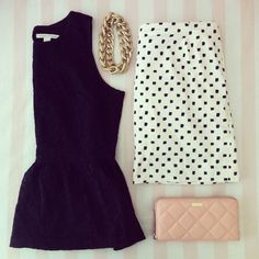 Black peplum, light pink clutch, b/w pokka dot skirt, gold chain