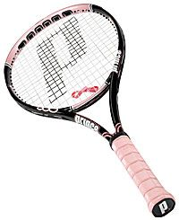 My racquet but with hot pink strings