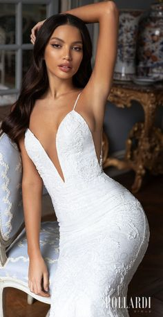 Lace mermaid wedding dress style with plunging v-neckline, spaghetti straps and beutiful cutouts for the elegant modern bride Pollardi Wedding Dresses 2021 Royalty Bridal Collection - 3221_2 Couth- Belle The Magazine | See more gorgeous bridal gowns by clicking on the photo