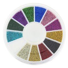 Ponen azules 12 colores mezclados Glitter perlas para del arte del clavo 3D encantos de la joyería Nails manicura accesorios decorativos del perno prisionero ZP206