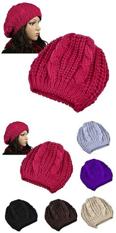New Unisex Womens Mens Winter Warm Knit Beret Hat Beanie Crochet Ski Baggy  Cap Red 712e4b38b76