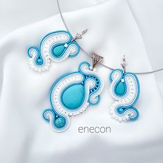 Soutache set Soutache jewelry Turquoise set jewelry by enecon on Etsy Soutache Jewelry, Shibori, Turquoise Jewelry, Polymer Clay, Brooch, Trending Outfits, Unique Jewelry, Handmade Gifts, Jewellery