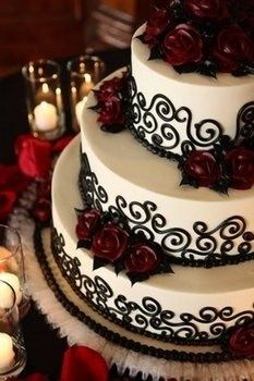 wedding cake white black wedding ideas - Halloween Wedding Cakes Pictures