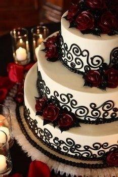 Wedding, Cake, White, Black wedding-ideas