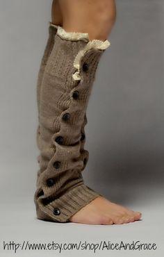 Button Camel Legwarmer Boot Sock $23.00, via Etsy.