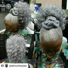 May your Monday be as fun and beautiful as Mother Fancy Pants' gray ponytail! Boy Hairstyles, Black Girls Hairstyles, Ponytail Hairstyles, Permed Hairstyle, Relaxed Hairstyles, Ponytail Styles, Hair Updo, Protective Hairstyles, Hairdos