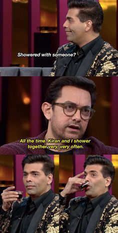 """11 Awkward And (Some) Funny Moments From Aamir Khan's Episode On """"Koffee With Karan"""" Koffee With Karan, Bollywood Quotes, Girl Thinking, Aamir Khan, Cartoon Memes, Bollywood Celebrities, Funny Moments, Awkward, Boys"""