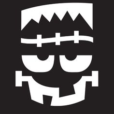 """Free Pumpkin Stencils for Halloween. """"Use these stencil patterns to create cute (or creepy) Halloween pumpkins that will surprise your guests."""" Image: Frankenstein Face Stencil. http://www.bhg.com/halloween/pumpkin-carving/halloween-pumpkin-stencils/"""