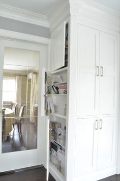 What I have in mind for the pantry with a shallow compartment on the side to store the broom, mop, etc.