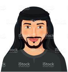 Arabian man face front view isolated on white avatar portrait vector Illustration Сток Вектор Стоковая фотография