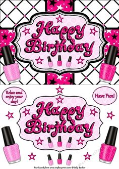 Happy Birthday Nail Polish Quick Card In Red White And Blue Birthday Nails, Happy Birthday, Nail Polish Bottles, Pink Cards, Blue Color Schemes, Birthday Design, A5, Decoupage, Red And White