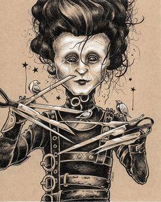 "Edward Scissorhands by Bryan Collins :: 8""x10"" ink & white pencil on tan paper.   #edward #scissorhands #edwardscissorhands #fantasy #art #penandink #drawing #inkdrawing #johnnydepp #fanart #popart"