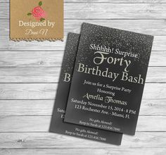 40 Birthday INVITATION Gold glitter Any Age by DesignedbyDaniN