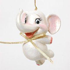(グッドウィル) GOODWILL CRIC JOYF ELEPHANT ゾウオーナメントホワイト (オブジェ・クリスマス・ハロウィン・イースター・プレゼント・ギフトなどに!)