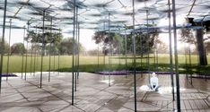 British architect Amanda Levete has unveiled her plan for a high-tech forest canopy at Melbourne's 2015 MPavilion.