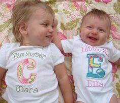 Big Sister Shirt - Big Sis Shirt- Big Brother Shirt - Little Sister/Brother Onesie Sibling Set - Initials. $39.50, via Etsy.