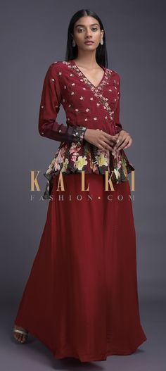 Ruby red lehenga and peplum top in crepe. Adorned with Moroccan and floral print along with zari and sequins embroidered buttis and placket. Red Lehenga, Anarkali, Angrakha Style, Embroidery Online, Ruby Red, Indian Wear, Salwar Kameez, Moroccan, Peplum