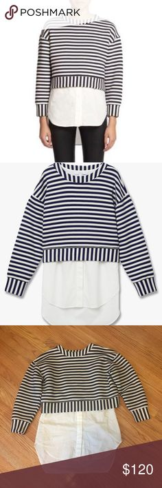 10 Crosby Derek Lamb 2-in-1 striped sweatshirt This is a great 'dress up' sweat shirt. The two tops can be worn together or separately (the original stitching between them is still in place). Crew neck striped sweatshirt. sleeveless crew neck cotton shirt with organdy ruffle at front hem. Mother of pearl buttons. 10 Crosby Derek Lam Tops