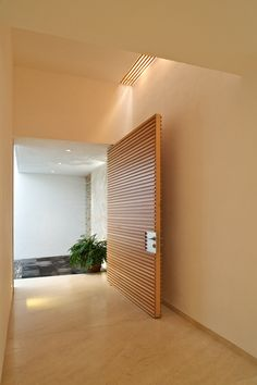 Wooden Doors: Check out this pivot door's unique wood paneling!