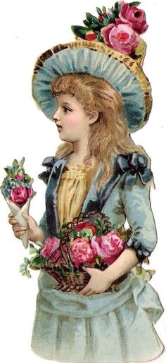 Victorian scrap- girl with roses- Oblaten Glanzbild scrap die cut chromo Kind kid child Lady Dame cm Hut hat Éphémères Vintage, Clip Art Vintage, Vintage Labels, Vintage Ephemera, Vintage Girls, Vintage Paper, Vintage Children, Vintage Postcards, Vintage Prints