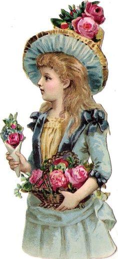 Oblaten Glanzbild scrap die cut chromo Kind kid child Lady Dame 12,4 cm Hut hat