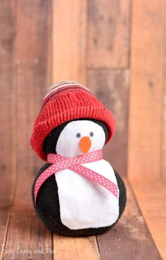 No-Sew Sock Penguin Craft - Easy Peasy and Fun - Noontime - amazing craft Crafts For Kids To Make, Christmas Crafts For Kids, Diy Christmas Gifts, Crafts For Teens, Holiday Crafts, Christmas Decorations, Christmas Games, Kids Diy, Spring Crafts