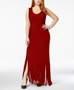 INC International Concepts Plus Size Fringe Maxi Dress, Only at Macy's