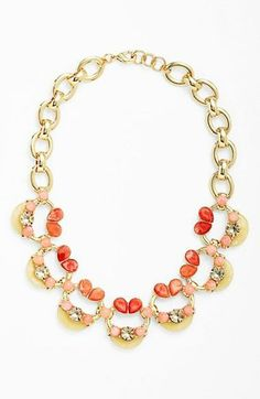 Princess worthy - Love this coral and gold embellished link necklace.