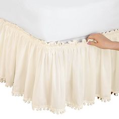 Pom Fringe Bedskirt, White, Queen/King Collections ETC Bed Wrap, Collections Etc, Household Cleaning Tips, Affordable Furniture, Bed Covers, Bed Sheets, Interior Decorating, Room Decor, Master Bedroom