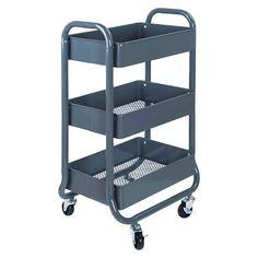 Room Essentials™ 3Tier Rolling Cart - Gray : Target