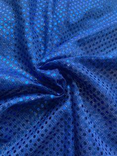 "44/45"" Royal Blue Dot Sequin Fabric By The Yard Sequin Fabric, Fabric Decor, Royal Blue, Burlap, Dots, Sequins, Yard, Crochet, Fashion"