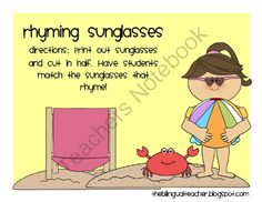 Rhyming Sunglasses from The Bilingual Teacher on TeachersNotebook.com (14 pages)