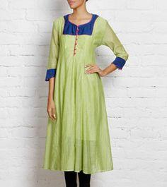 Green Cotton Silk Anarkali with Blue Yoke