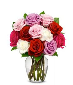 From You Flowers  One Dozen LongStemmed Roses in Pink Red Purple White Free Vase Included ** ** AMAZON BEST BUY **