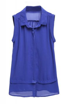 Blue Lapel Sleeveless Chiffon Blouse*