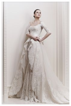 Zuhair Murad S/S 2012 Collection. 3/4 sleeve lace wedding gown with square neckline.