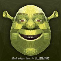- by Illustrator Georgie Retzer Shrek I do Polygonart Commissions too. January 13 2019 at Polygon Art, January 13, Shrek, Low Poly, Illustrator, Triangle, Fanart, Felt, Concept
