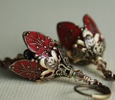 Flower earrings Valentines Day red rose romantic by AmberSky, $46.50